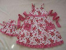 "NEW MAGGIE & ZOE Red White Cherry Gingham Mimi Dress 6X 6 18"" American GIrl Doll"
