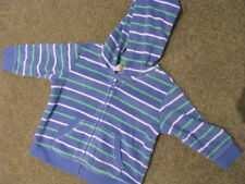 BNWT BABY BOYS BLUE FLEECE JACKET HOODIE JUMPER SIZE 0 STRIPE