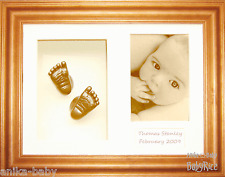 New Baby 3D Casting Kit Set hand foot bronze casts Honey Pine Display Frame Gift