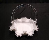 Vintage Pre-1972 Fenton Silver Crest Milk Glass Bamboo Handled Ruffled Basket