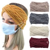 Women Twist Cross Hairband Woolen Knitted Headband Button Elastic Hair Bands New