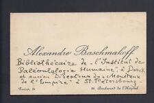Imperial Russian Scholar & Writer Alexander Baschmakoff Antique Annotated Card