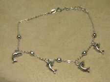 Beads and Dolphin Charms Sterling Silver Chain Anklet with