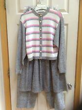 Vintage St. John Knits 3 PC Grey/White/Pink Sweater Skirt & Pant Set Sz 10,12