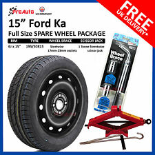 """FORD KA 2009-[current] 15"""" FULL SIZE STEEL SPARE WHEEL AND TYRE + FREE TOOL KIT"""