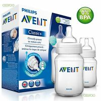 2 x Philips Avent Classic+ 1m+ Baby Feeding Bottles Colic 260ml / 9oz Twin Set