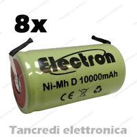 8x Batteria Torcia D ricaricabile Ni-MH da 10000 mah 10Ah 8000mAh pacco batteria