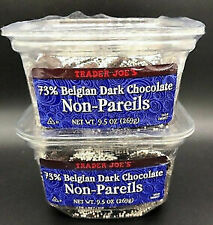 VALUE 2 PACK Trader Joe's 73% Belgian Dark Chocolate Non-Pareils Candy