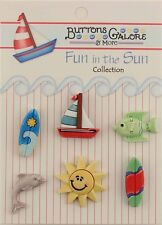 """Buttons Galore & More FUN IN THE SUN """" Surf's Up"""" 3D - 6  Hand Dyed Buttons"""