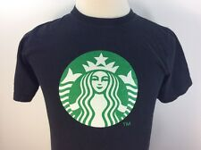 Starbucks Logo T-Shirt Small Black Anvil 100% Cotton Coffee Drinks Mens