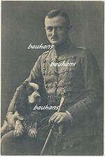 Portrait Husar mit Eisernen Kreuz-Säbel-Hund usw. mit Widmung/Unterschrift(c365)