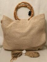 Womens Wicker Straw Tote Woven Beige Handbag Shoulder Bag Holiday Summer Beach