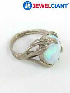 STERLING SILVER 925 COCKTAIL RING SZ 6.75 OPAL 5.1 G #by908