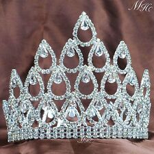 "Wedding Pageant Crown 5"" Tiara Diadem Clear Rhinestone Crystal Brides Party Prom"