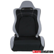 (Right Passenger Side) Stylish Black W/Gray Trim Cloth Sports Design Racing Seat
