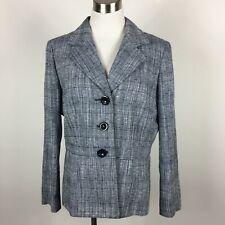 Le Suit 12 Blazer Jacket Navy White Weave 3 Button Career Lined Cotton Linen