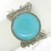 Sterling Silver Marcasite Large Round Turquoise Multi Strand 1.5in Wide Bracelet