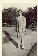 Vintage Old 1930 Fashion Photo of Man Wearing Suit Fedora & Gangster Spats Shoes