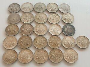 Lot De 26 Monnaies de 50 centimes Semeuse en Argent SUP a SPL