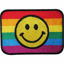 Rainbow Smiley Face Embroidered Iron Sew on Patch Gay Pride Flag Badge Transfer