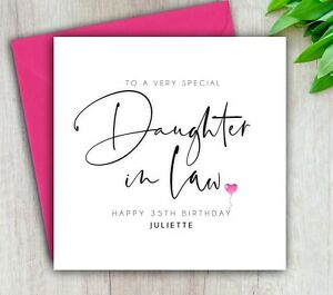 Daughter In Law Birthday Card, Special Daughter In Law, Handmade Personalised