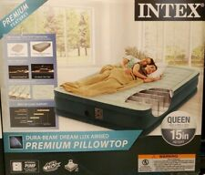 Intex Premium Pillowtop Queen 15inch Height Intel Pump Air Bed NEW
