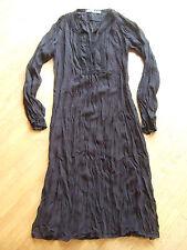 robe longue CAROLL t 36 noire tissu froissé