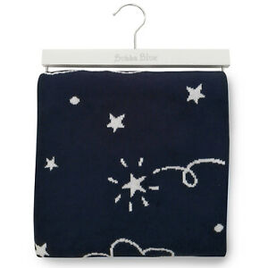 NEW Bubba Blue Navy Wish Upon A Star Cotton Knit Blanket