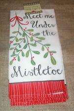 New Modern~Set of 2~Meet Me Under The Mistletoe Kitchen Towels~Christmas Holiday