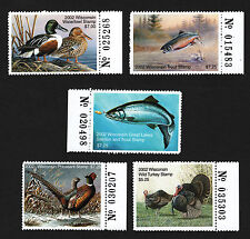 OPC X5 2002 Wisconsin Hunting Permit Stamps With Tabs MNH