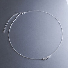 925 Sterling Silver Rhinestone Leaves Curved Bar Pendant 45cm Chain Necklace