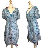 New! Joe Browns Women's Midi Blue Floral Asymmetrical Summer Dress Size Uk 16 18
