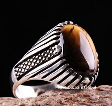 Tigers Eye Stone Turkish Handmade Solid 925 Sterling Silver Men Ring ALL SİZE 76
