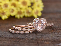 8mm Heart Cut Morganite & Lab Dia Wedding Bridal Ring Set 14k Rose Gold Over