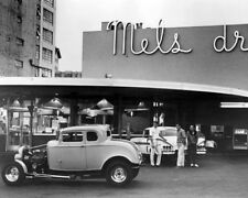 American Graffiti Classic Hot Rod Cars In Front Of Mel'S Diner 16x20 Canvas