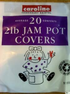 Jam Pot Preserves Covers Labels & Wax Circles 2lb 2 lb 1kg jar pk 20 by Caroline