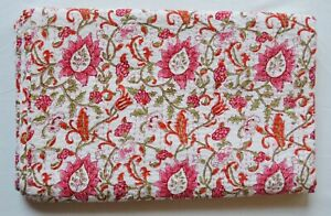 Indian Handmade Leafy Printed Soft Bedding Kantha Quilt Coverlet Throw Twin