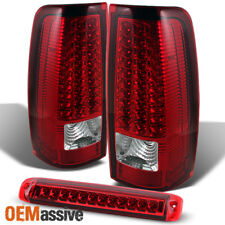 Fit 2003-2006 Chevy Silverado GMC Sierra Red Clear LED Tail Lights+Brake Lamp