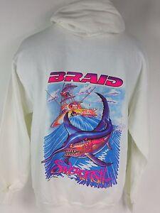 Mens L Braid Sport Fishing Retro Pullover Hoodie Sweatshirt Swordfish Salty Crew
