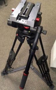 MANFROTTO 546GB PRO VIDEO TRIPOD + 504HD FLUID VIDEO HEAD with 75mm HALF BALL +