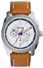Fossil Men's FS5063 Machine Chronograph Brown-Leather Band Silver Dial Watc