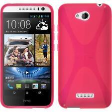Silikon Hülle für HTC Desire 616 pink X-Style + 2 Schutzfolien