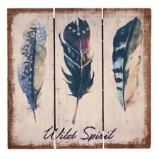 Wild Spirit Wooden Plaque Feathers painted on Pallet Wood Hanging 3D Picture
