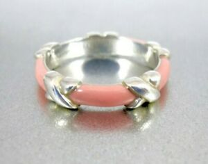 Tiffany & Co. Sterling Pink Enamel Signature X Ring Stacking Band Size