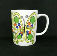 Vtg MCM Fitz & Floyd Coffee Cup White Green Butterfly