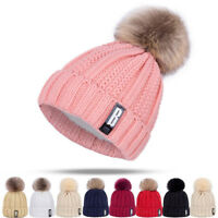 Cute Pompon Ball Women Knit Hat Winter Warm Woolen Yarn Beanie Hat Outdoor Cap