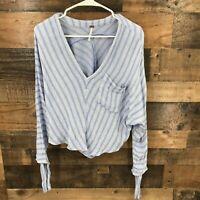 Free People Women's Blue White Stripe Semi-sheer Long Sleeve Waist Length Top