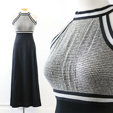 Vintage 70s metallic silver Disco knit black stretch cocktail party Maxi Dress S