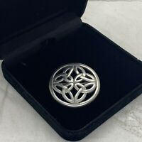 VINTAGE Celtic Knot Brooch Round Shield Sash Pin Pewter Silver Tone Scottish