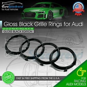 Audi Rings Front Grill Gloss Black Emblem Badge Q5 SQ5 Q3 Q7 A6 A7 4H0853605B2ZZ